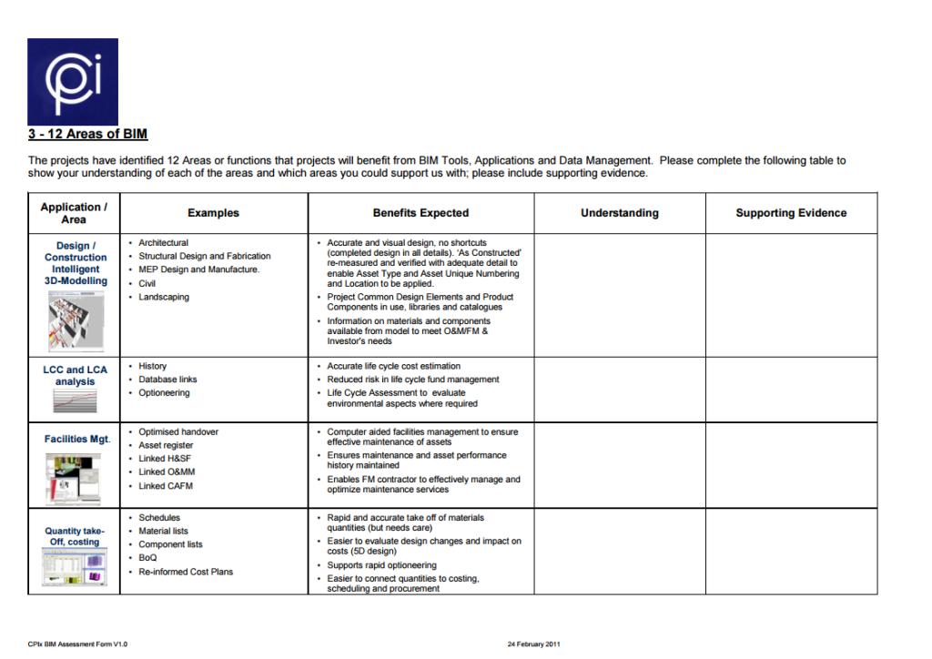 Consultant Capabilities Assessment: non vi mostreremo il nostro, maesistono diversi modelli on-line, disponibili per il pubblico utilizzo. Primo fra tutti, quello sviluppato dalConstruction Project Information Committee britannico, da cui è preso questo screenshot.