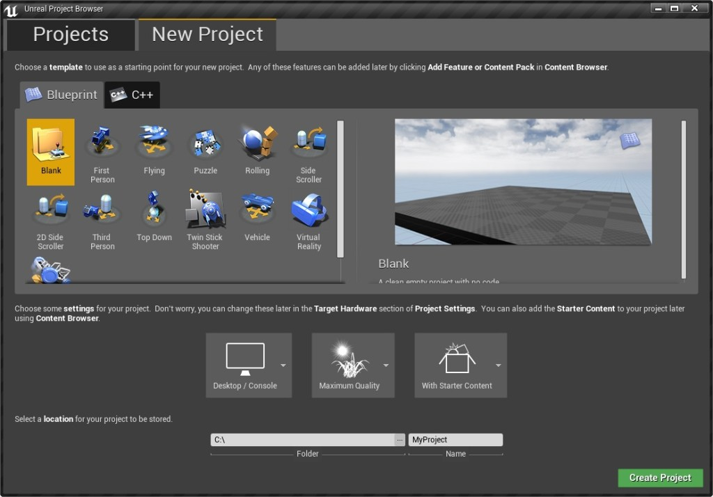Create New Unreal Project