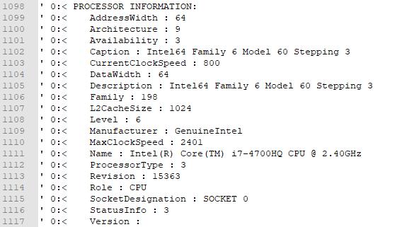 Queste sono le informazioni del mio processore. Lo so. Devo comprare un pc nuovo.