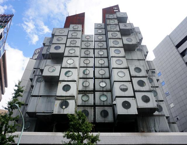 Le capsule della torre Nakagin di Kisho Kurokawa.